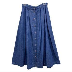 Vintage Denim Button Front Long Skirt 80's M 8/10